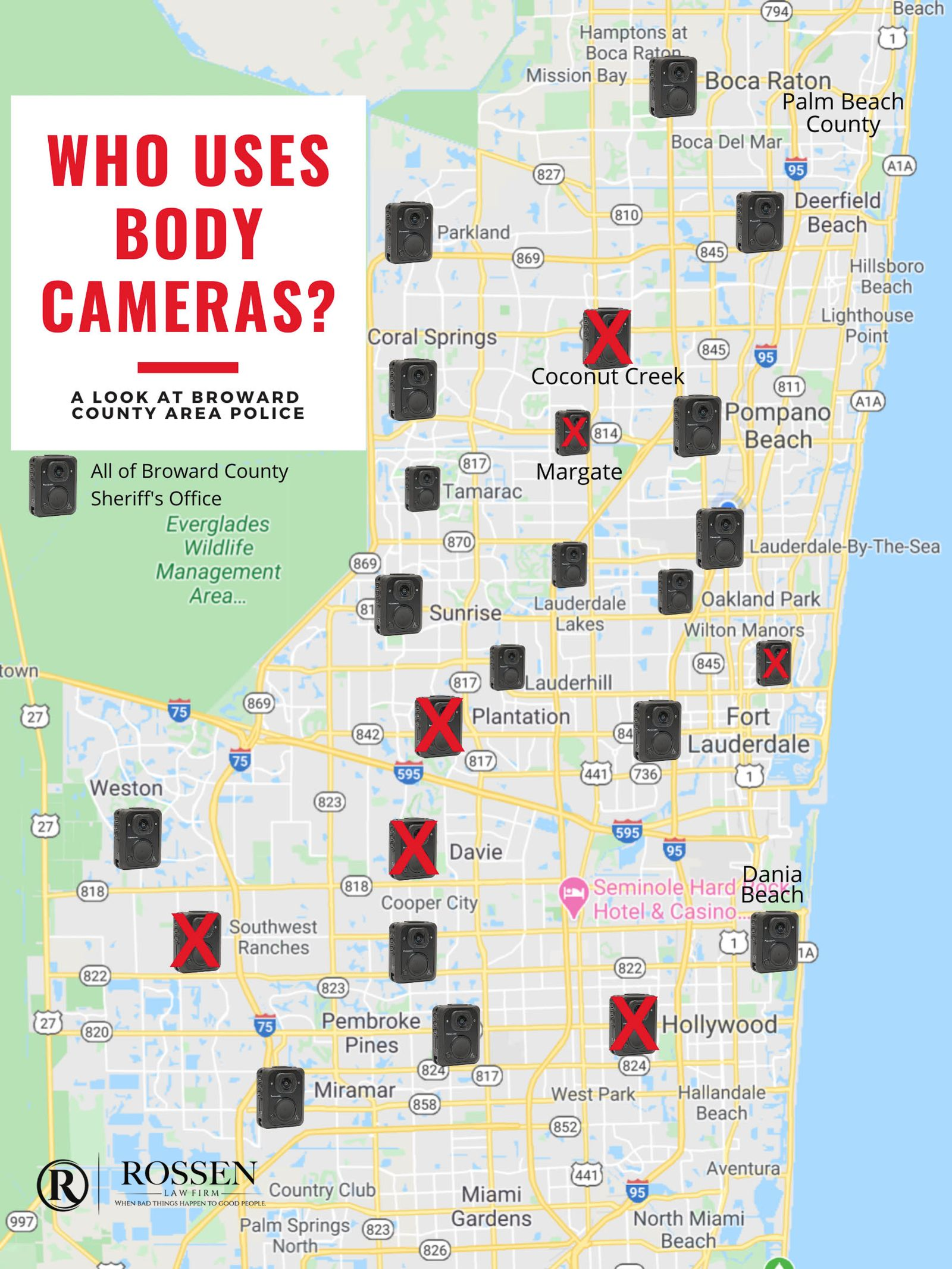 Body Worn Cameras by Police Department in Broward County, Fort Lauderdale and South Florida