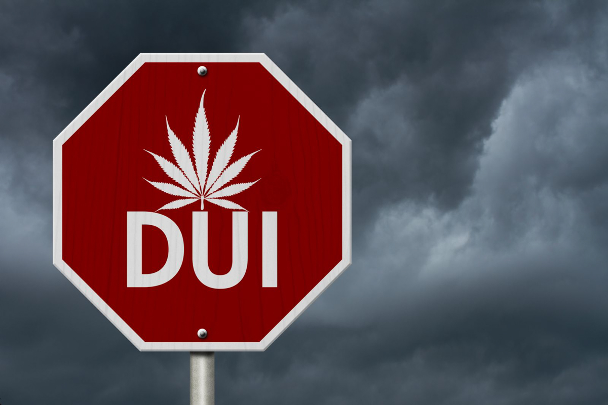 A stop sign has a marijuana leaf and DUI printed in white, as if to say stop driving under the influence of drugs and marijuana and weed in South Florida