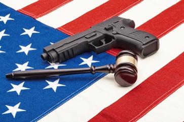 Gun and Gavel on an American Flag