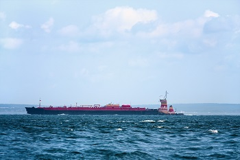 Oil  barge out at sea