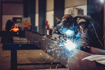 Steel Worker on a Construction Site