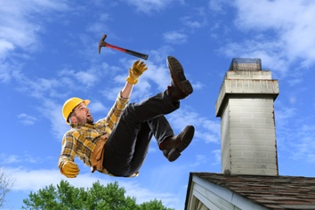 Worker Falling Off of a Roof While Doing Repairs