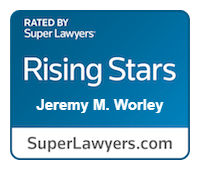 Injury attorney Jeremy Worley's Rising Star Super Lawyers Badge