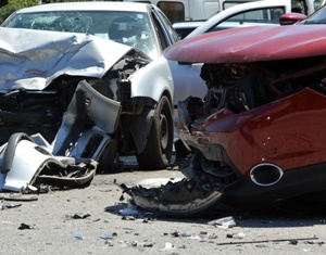 Totaled Cars After a Multi-Car Wreck