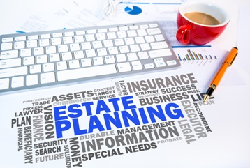 Estate Planning Word Cloud With a Keyboard and Pen
