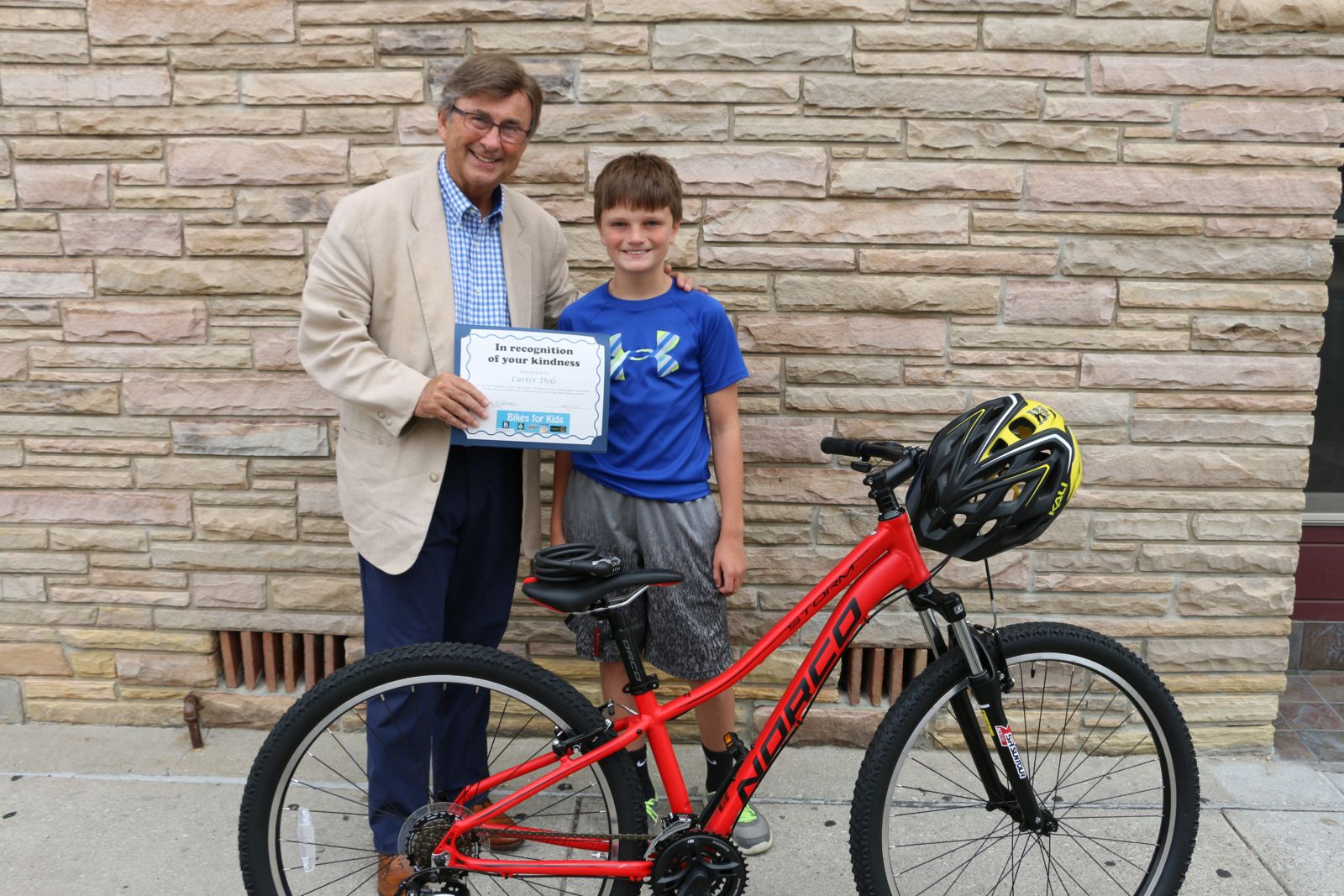 Joe Barberi and Carter Dole - Bikes for Kids winner 2016