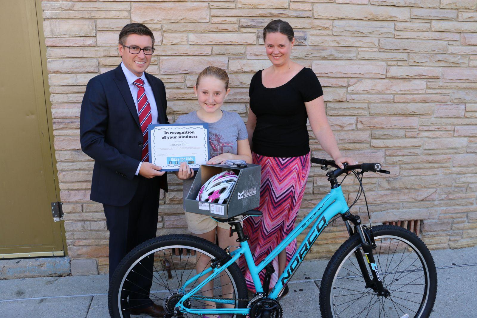 David Barberi, Mitaya Collin, and Allison Quast-Lents - Bikes for Kids 2016