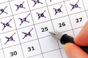 crossing off dates on a calendar