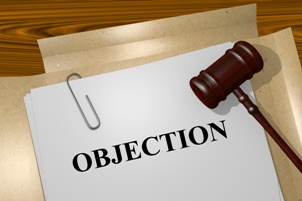 objection printed on file folder with gavel