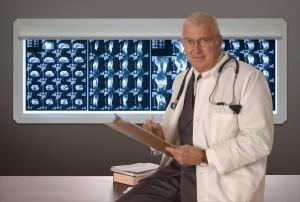 doctor in front of x-rays