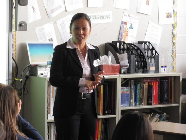 Personal Injury Laywer Louisa Chen talks to students at career day