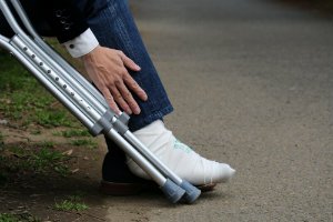 Painful injured foot with crutches