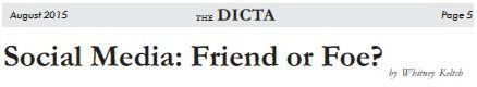 Dallas Association of Young Lawyers Dicta Article Social Media
