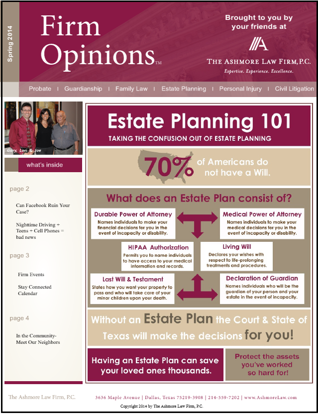 Spring 2014 Newsletter   The Ashmore Law Firm, P C