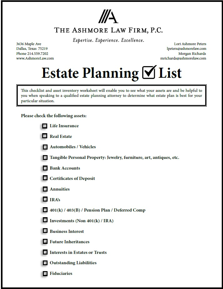 Estate Planning Checklist and Asset Inventory Worksheet – Estate Planning Worksheet