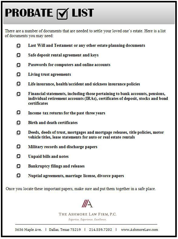 real estate checklist probate checklist the ashmore law firm pc