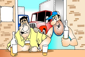 Cartoon shows drunk truck drivers