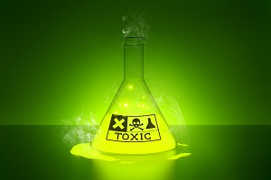 Flask of toxic chemicals