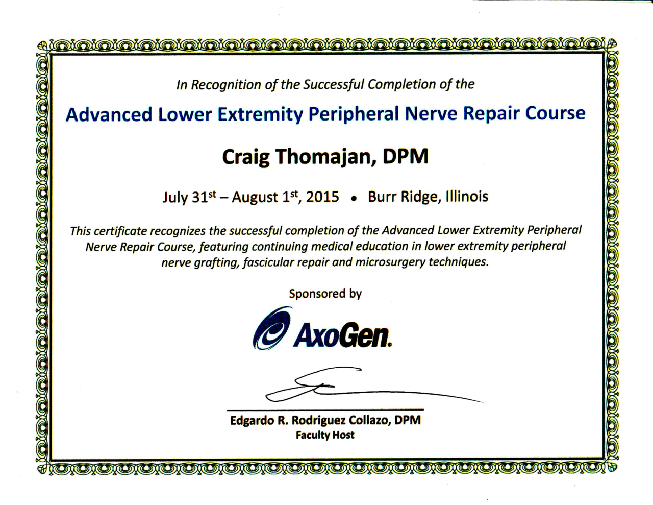 Advanced Nerve repair certificate