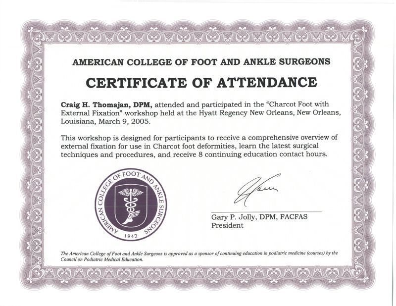 Certificates | Professional Training | Austin Foot And Ankle Specialists