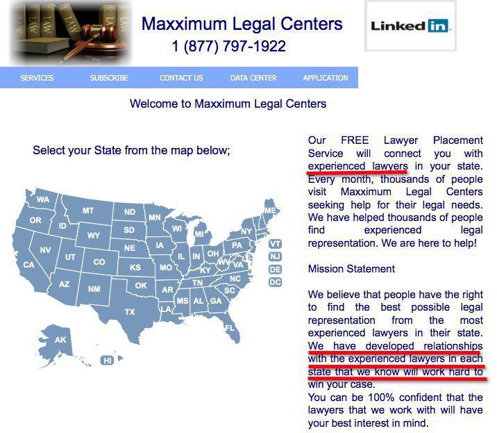 Maxximum Legal Centers Landing Page