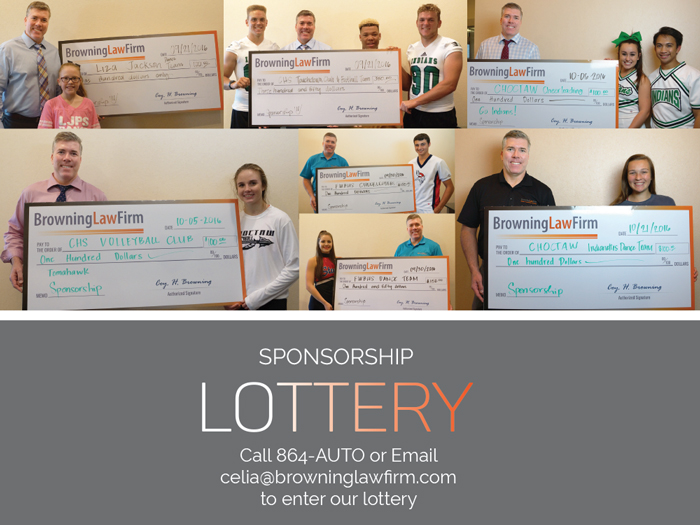 Coy Browning Law Firm Sponsorship Lottery