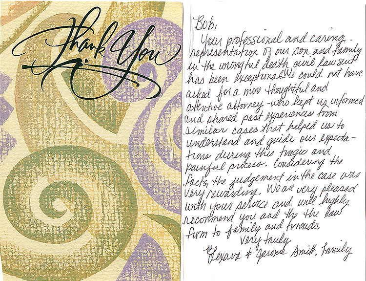 Wrongful Death Thank You Letter Bob Lantzy
