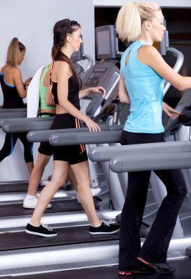 Women walking on treadmills