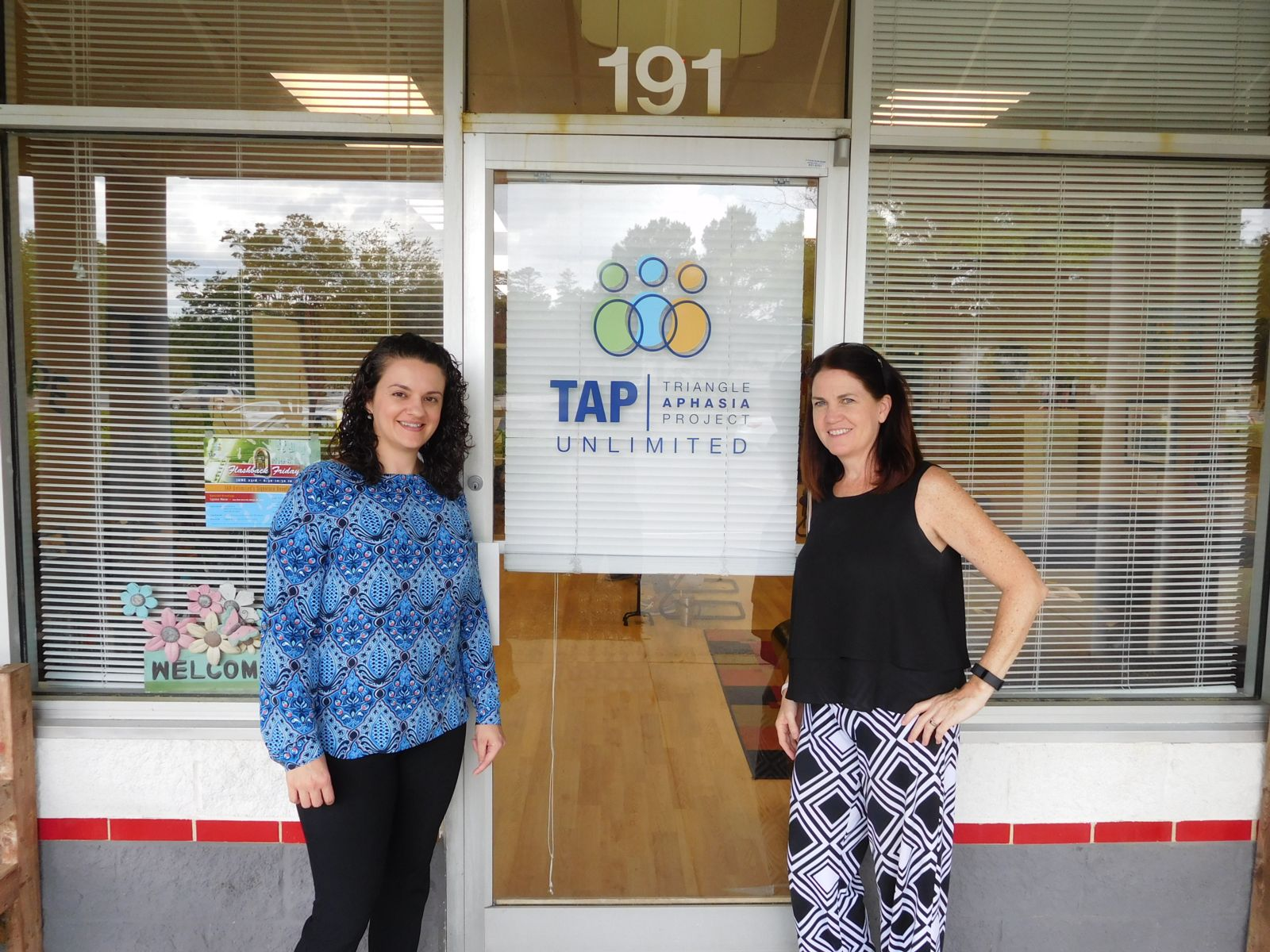 TAP's Maura Silverman with Jackie at the TAP Main Office.