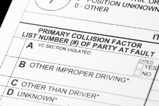 close-up of police accident report