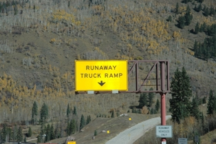 Sign for a runaway truck ramp