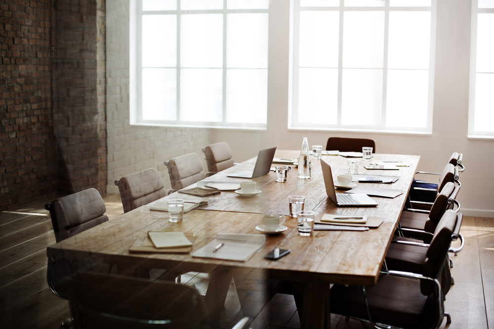 Conference room set up for a meeting