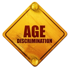 Yellow Age Discrimination Sign With Red Text
