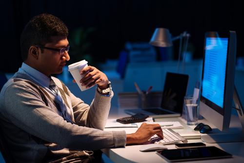Employee working late