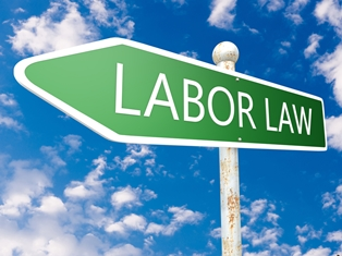Green sign that says 'Labor Law'