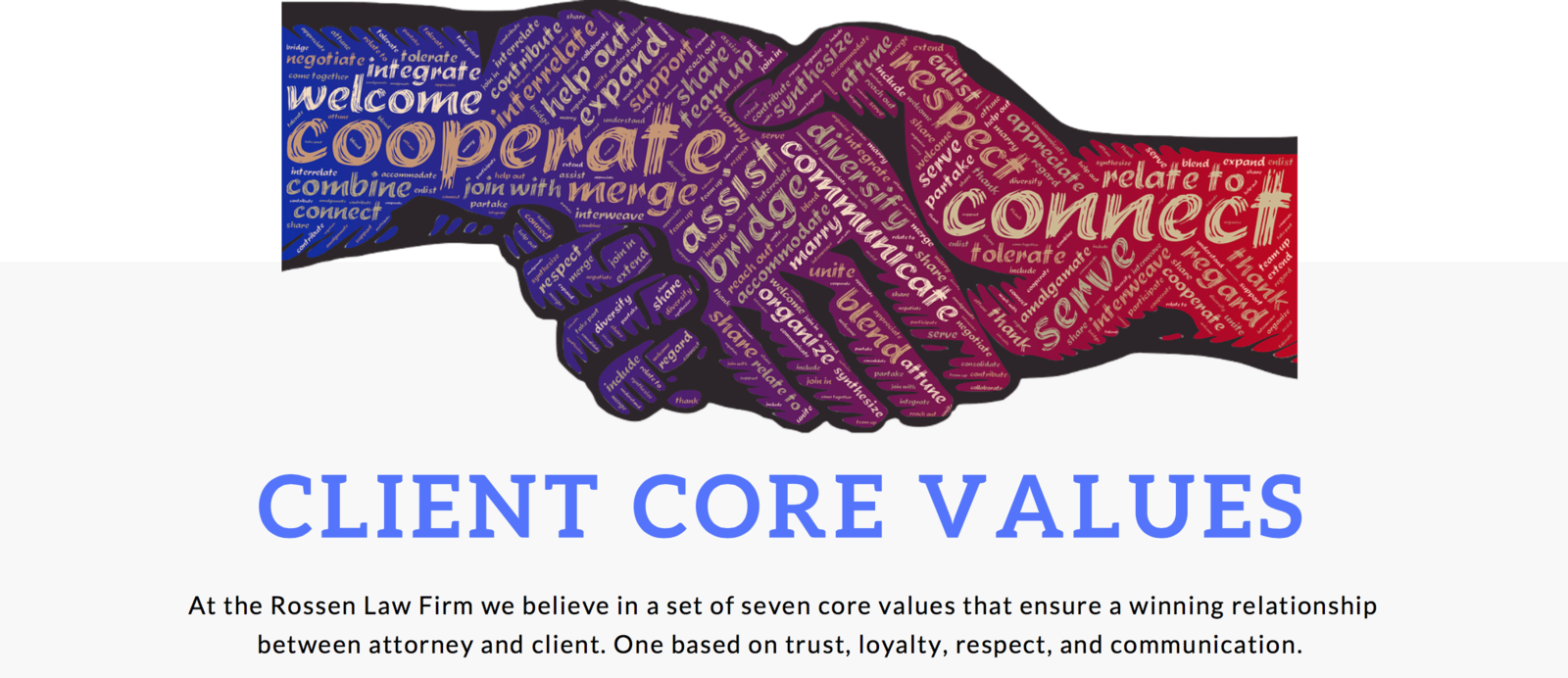 a photo explains the Core Values that Rossen Law Firm has when dealing with clients with criminal, DUI, federal or domestic violence cases