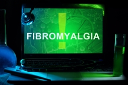 Fibromyalgia on a Green Computer Screen With an Exclamation Point