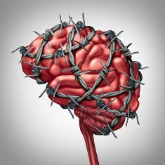 Image of a Brain Wrapped in Barbed Wire