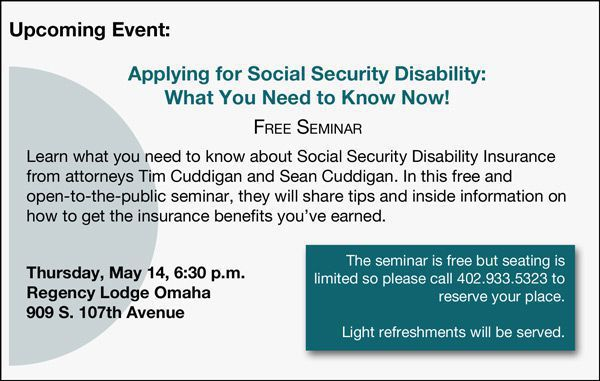 Join us on May 14 for a free seminar on Social Security disability benefits.