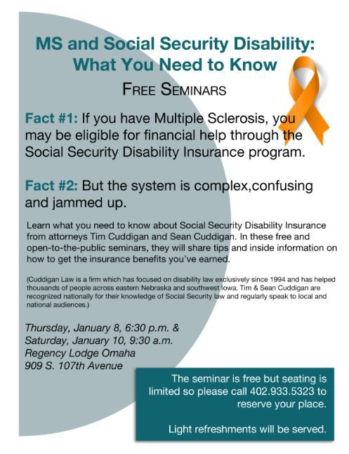 Learn more about our Multiple Sclerosis and SSDI seminars here!