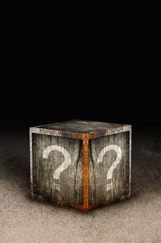 Wooden Mystery Box Covered With Question Marks