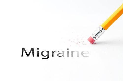The Word Migraine Being Erased by a Yellow Pencil