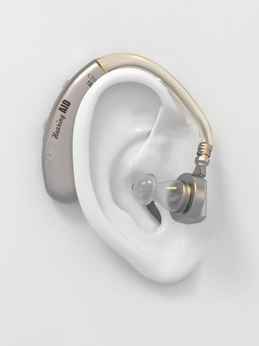 Hearing Aid on a White 3D Image of an Ear