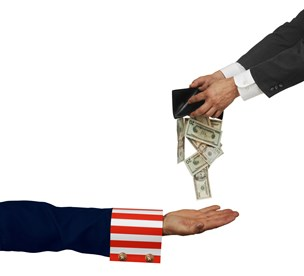 Person giving money to Uncle Sam