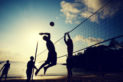 Beach volleyball and your feet.