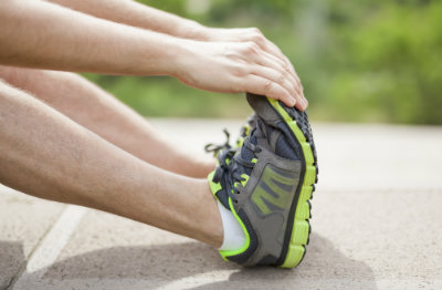 Stretching for heel pain.