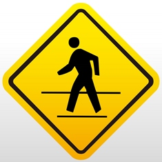 Yellow Pedestrian Crossing Sign