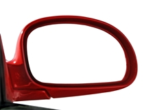 Passenger Side Mirror on a Red Car