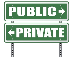 Public and Private Property Signs Pointing in Opposite Directions
