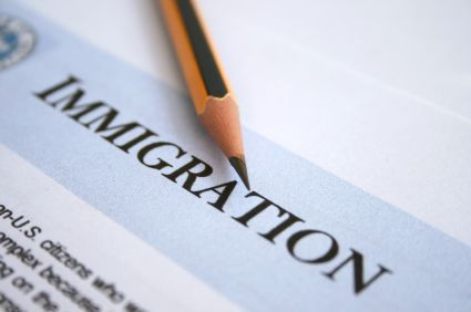 filling out an immigration application
